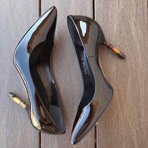 GUCCI 'Kristen' Black Patent Bamboo Heel Pump 35.5